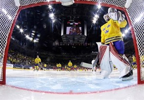 COLOGNE, GERMANY - MAY 5: Sweden's Viktor Fasth #30 and get set to take on Russia in preliminary round action at the 2017 IIHF Ice Hockey World Championship. (Photo by Andre Ringuette/HHOF-IIHF Images)