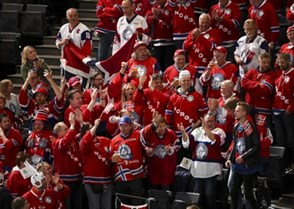 PARIS, FRANCE - MAY 7: Team Norway fans cheer during preliminary round action against Switzerland at the 2017 IIHF Ice Hockey World Championship. (Photo by Matt Zambonin/HHOF-IIHF Images)