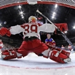 COLOGNE, GERMANY - MAY 11: Denmark's George Sorensen #39 reaches across in attempt to make the save during preliminary round action against Russia at the 2017 IIHF Ice Hockey World Championship. (Photo by Andre Ringuette/HHOF-IIHF Images)