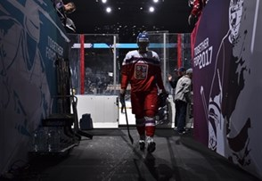 PARIS, FRANCE - MAY 11: Czech Republic's Jakub Krejcik #36 walks through the tunnel prior to preliminary round action against Slovenia at the 2017 IIHF Ice Hockey World Championship. (Photo by Matt Zambonin/HHOF-IIHF Images)