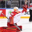 COLOGNE, GERMANY - MAY 14: Denmark's George Sorensen #39 attempts to make a glove save during preliminary round  action against Sweden at the 2017 IIHF Ice Hockey World Championship. (Photo by Andre Ringuette/HHOF-IIHF Images)