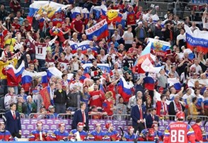 COLOGNE, GERMANY - MAY 15: Russia fans cheering on their team as players look on from the bench during preliminary round action against Latvia at the 2017 IIHF Ice Hockey World Championship. (Photo by Andre Ringuette/HHOF-IIHF Images)