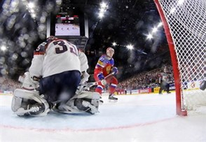 COLOGNE, GERMANY - MAY 16: Russia's Nikita Gusev #97 scores a first period goal against USA's Jimmy Howard #35 during preliminary round action at the 2017 IIHF Ice Hockey World Championship. (Photo by Andre Ringuette/HHOF-IIHF Images)