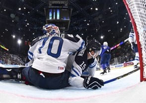 PARIS, FRANCE - MAY 7: Finland's Joonas Korpisalo #70  and Miro Aaltonen #15 look on after France's Pierre-Edouard Bellemare #41 (not shown) scores during preliminary round action at the 2017 IIHF Ice Hockey World Championship. (Photo by Matt Zambonin/HHOF-IIHF Images)