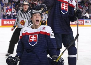 COLOGNE, GERMANY - MAY 14: Slovakia's Martin Gernat #28 celebrates after scoring a second period goal against the U.S. during preliminary round action at the 2017 IIHF Ice Hockey World Championship. (Photo by Andre Ringuette/HHOF-IIHF Images)